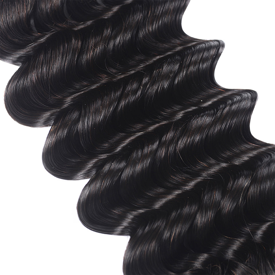 15A Mink Hair Double Drawn Deep Wave Natural Black 1 bundles/pack - arabellahair.com