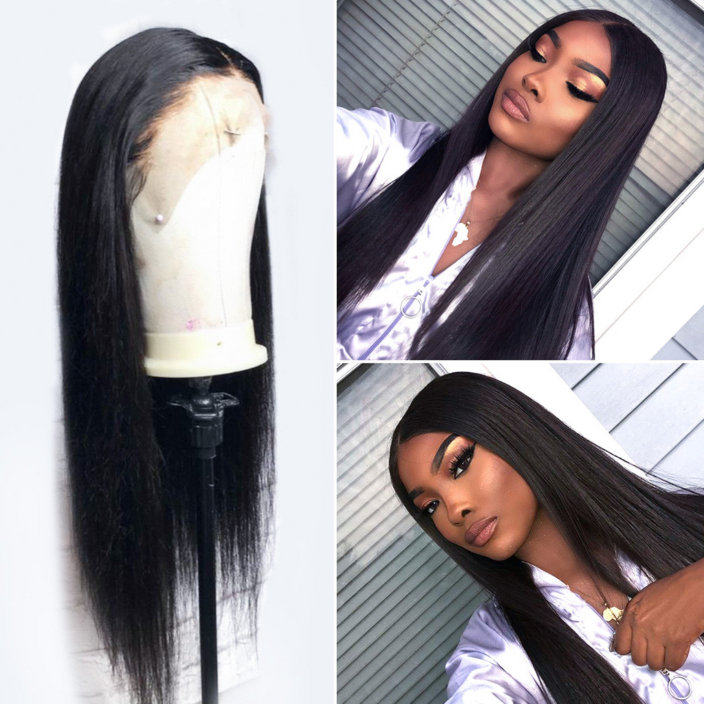 Natural Long Straight 100% Human Hair 360 Lace Frontal Wig For Sale