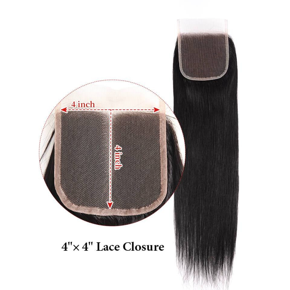Straight Hair Closure Three part Middle Part and Free Part Lace Closure 1 Piece