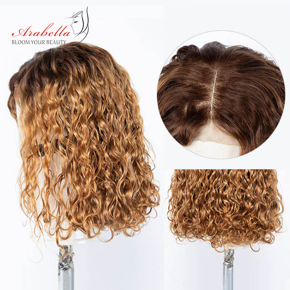 New Arrival Beyonce Style 4/27 Ombre Color Water Wave Bob Glueless 4*4 Lace Closure Wig
