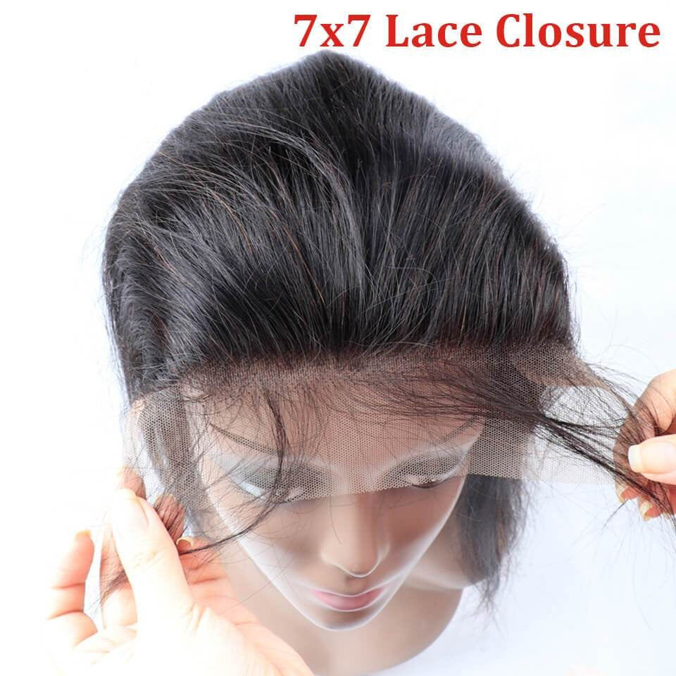 Body wave Hair Closure Lace Free Part 7x7 Closure 1 Piece