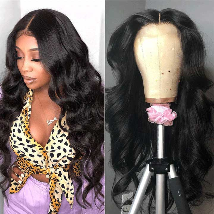Arabella Human Hair Wigs Body Wave 4*4 lace Wig 180% Density Sale Online