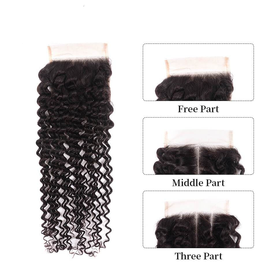 Kinky Curly Closure Free Part Middle Part and Three Part Lace Closure 1 Piece