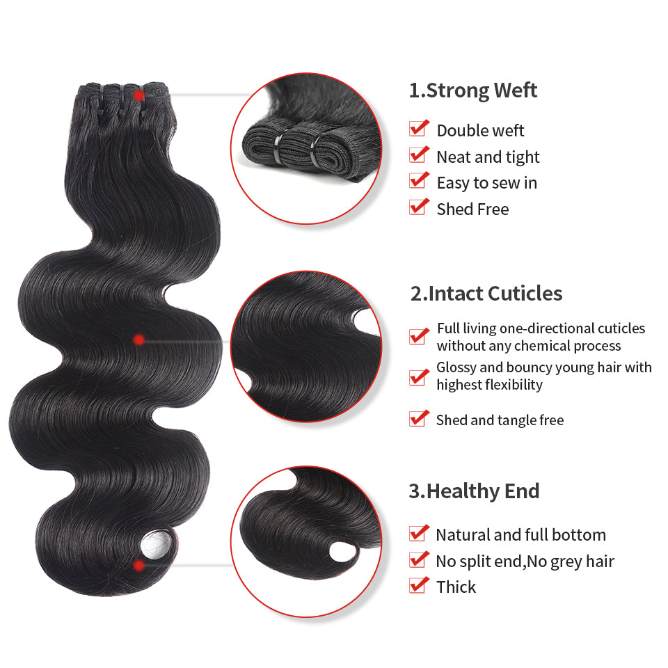 15A Mink Hair Double Drawn Body Wave Natural Black 1 bundles/pack - arabellahair.com