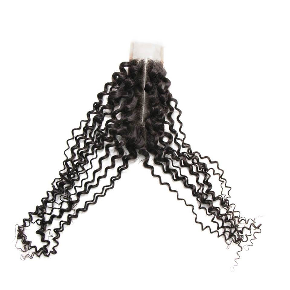 Kinky Curly Hair Closure  Middle Part Lace 2x6 Closure 1 Piece