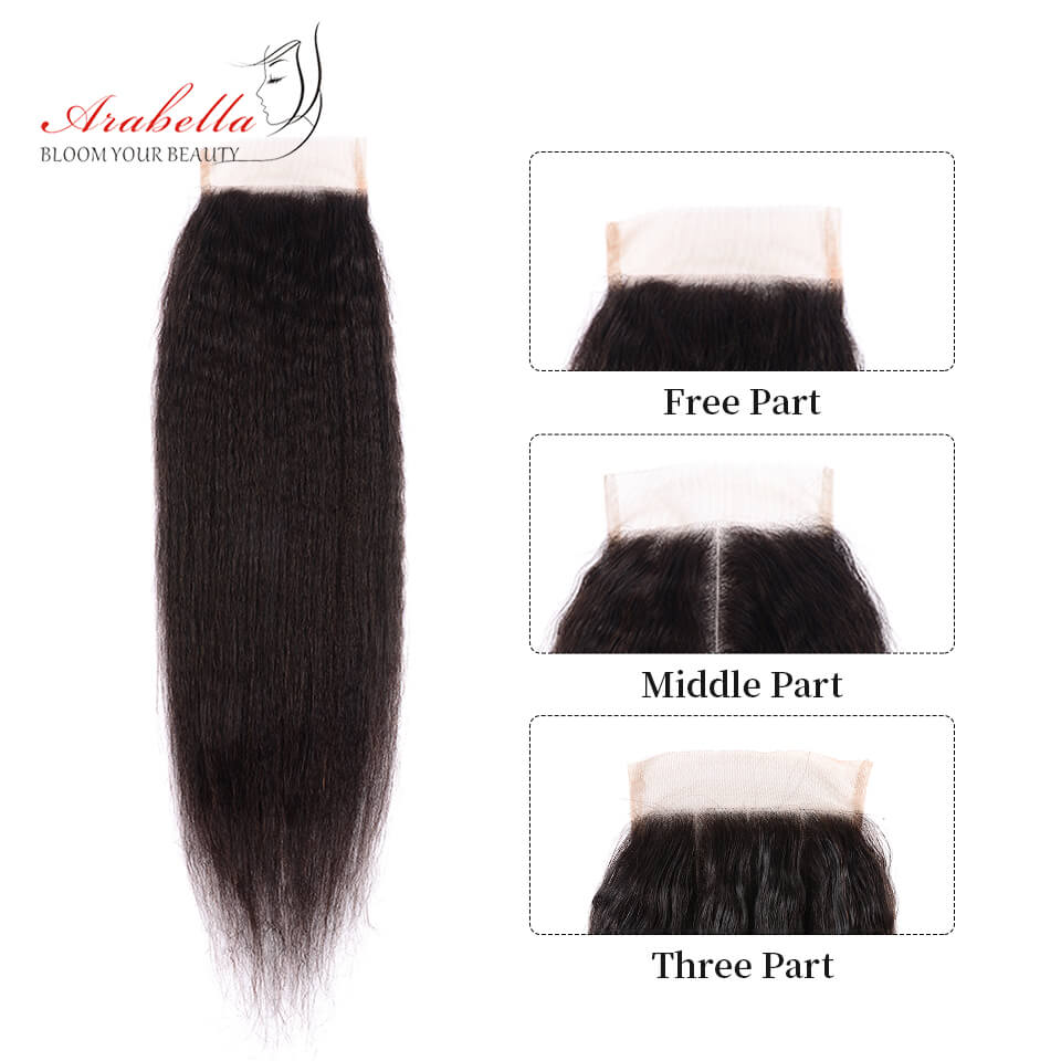 Brazilian Yaki Hair Weft 3 Bundles With 4*4 Lace Closure