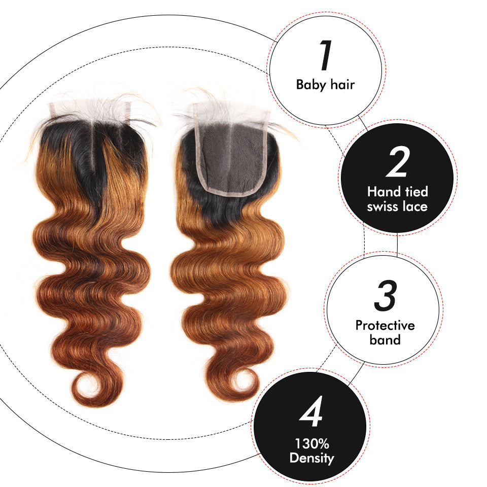 T1B/30 3Bundles Body Wave Hair Weaves With 4*4 Lace Closure Middle Part Free Part