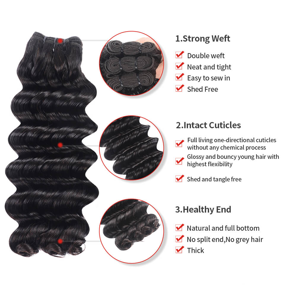 15A Grade Double Drawn Full End Deep Wave Unprocessed Hair Natural Black 3 bundles/pack