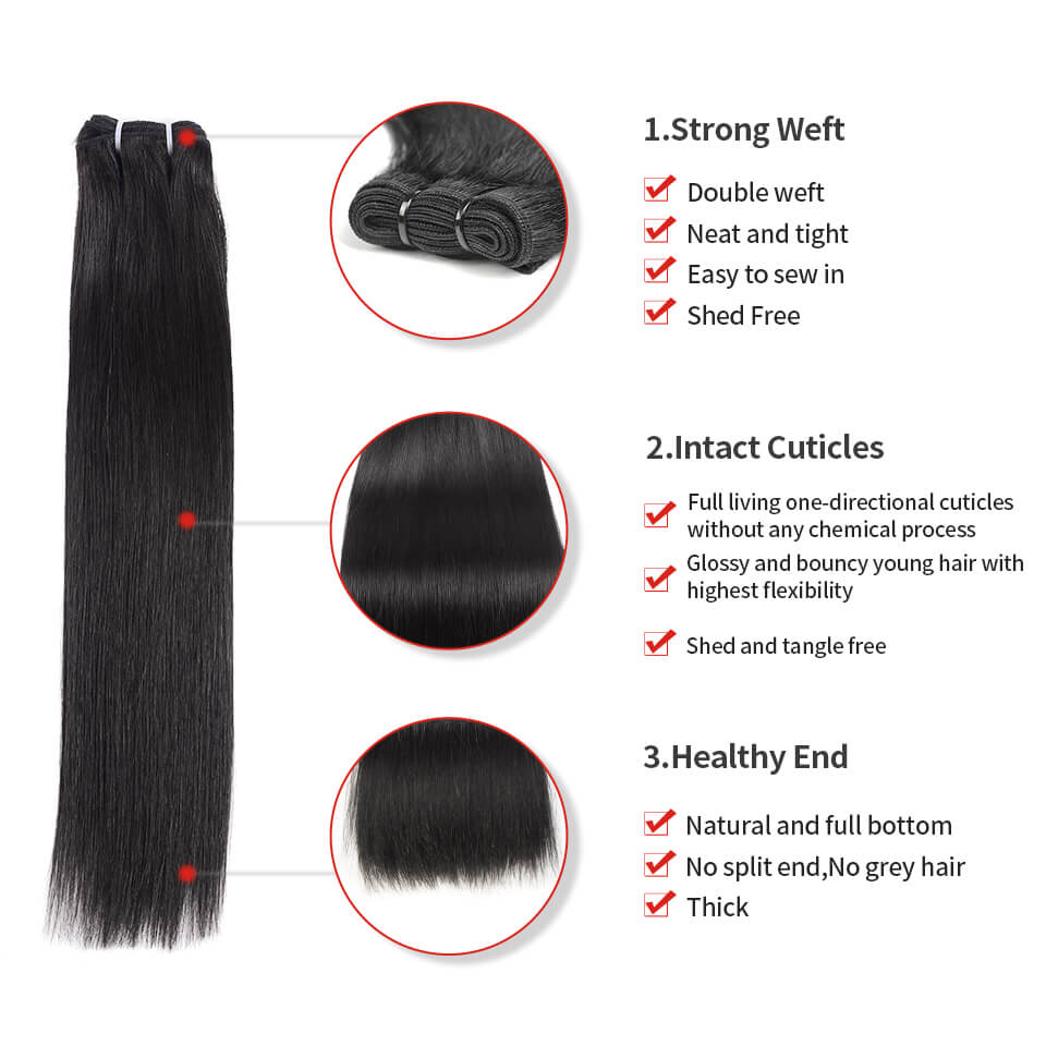 15A Grade Double Drawn Full End  Unprocessed Straight Hair Natural Black 3 bundles/pack - arabellahair.com