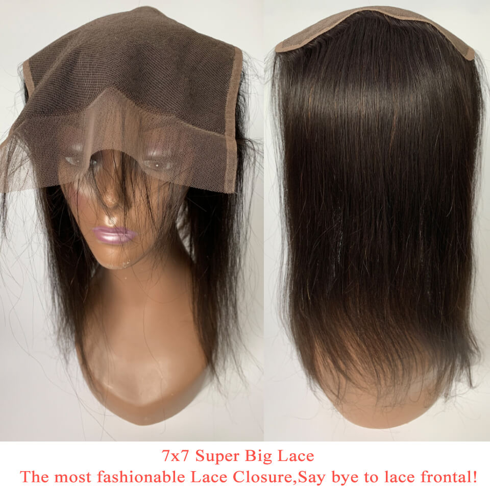 Straight Hair Closure Lace Free Part 7x7 Closure 1 Piece