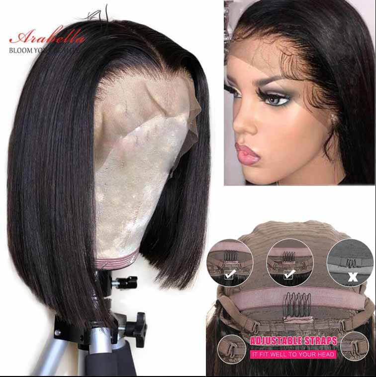 New Arrival Arabella Human Hair Bob Wig Side Part Straight 13x4 Inch Lace Frontal Short Cut  Wig 210% Density For Sale