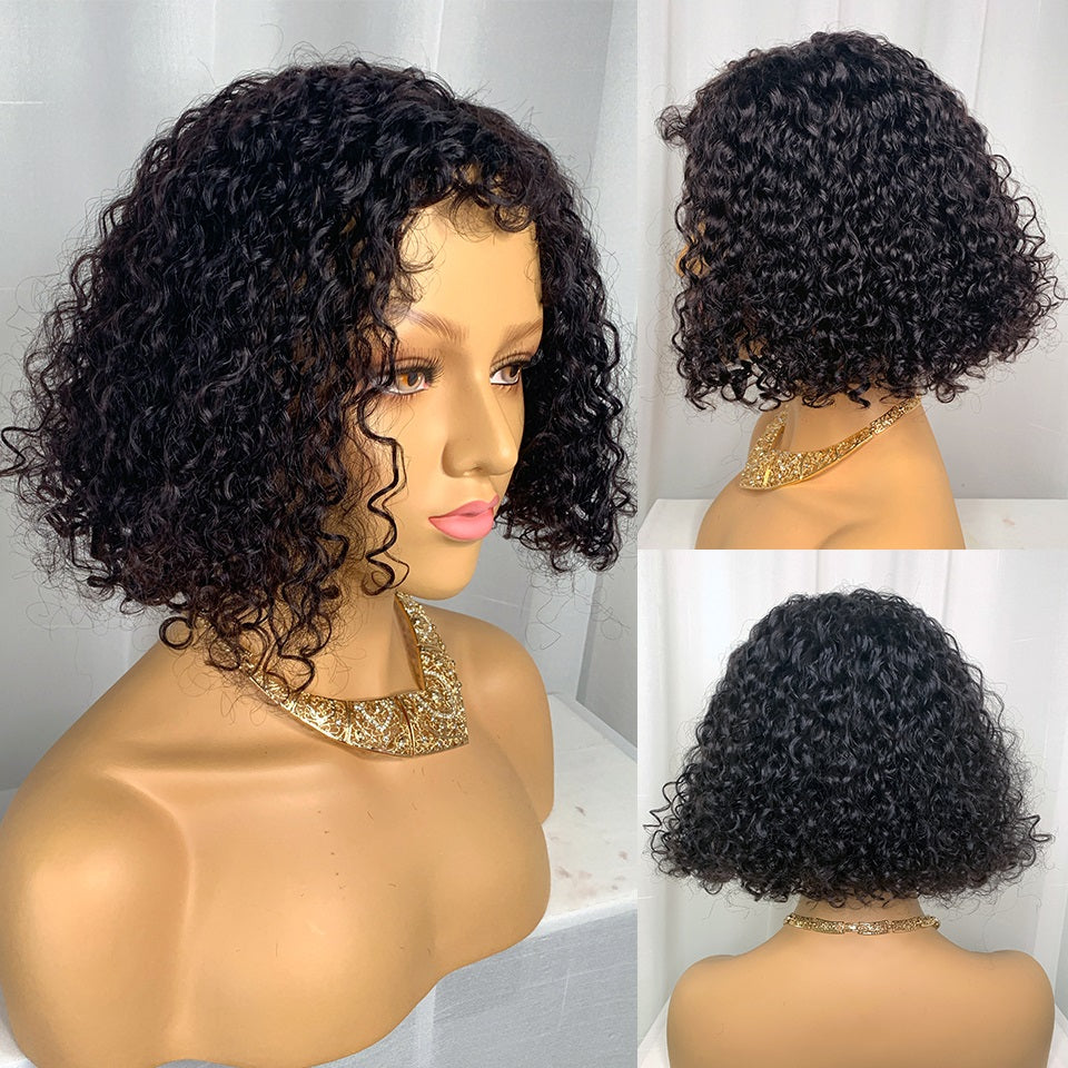 Short Curly Bob Wig, Lace Front Wig 14inch