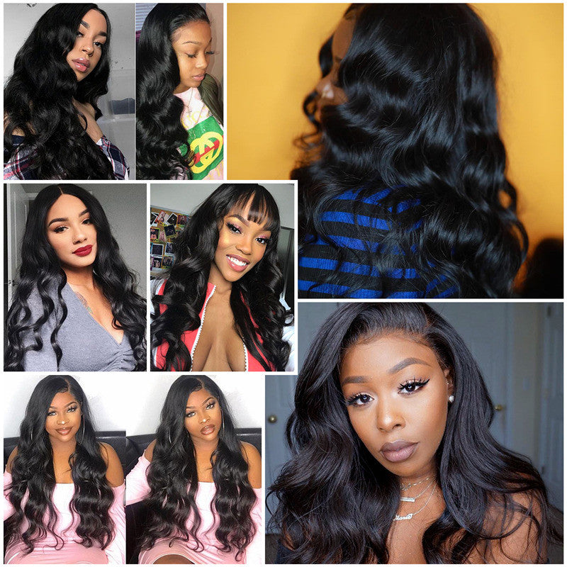 Human Hair Wigs Long Body Wave 13x6 Inch Lace Frontal Wig 180% Density