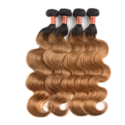 Peruvian Body Wave T1b/27 Human Hair 4 bundles/lot