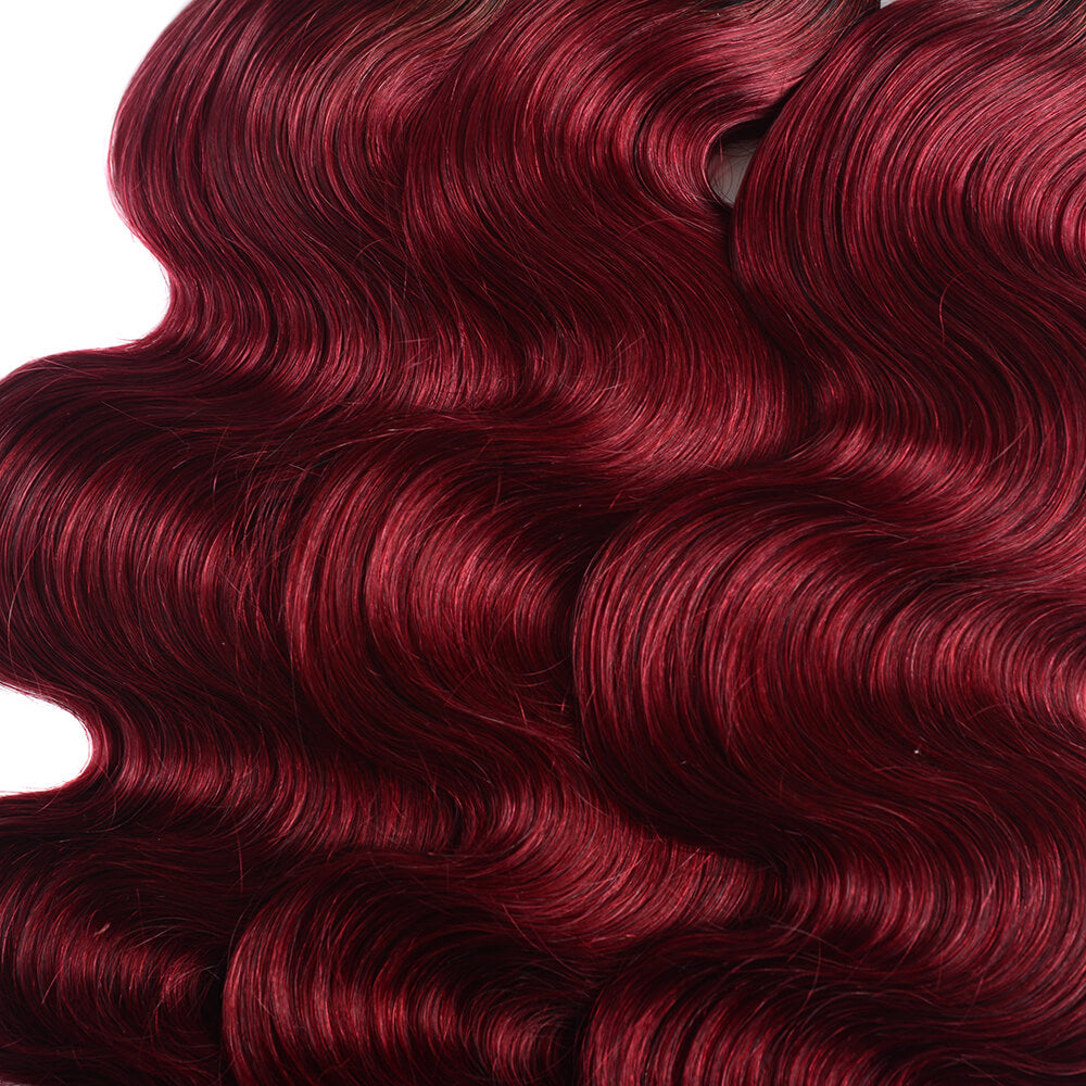 Malaysian Body Wave T1b/99J Human Hair 4 bundles/lot