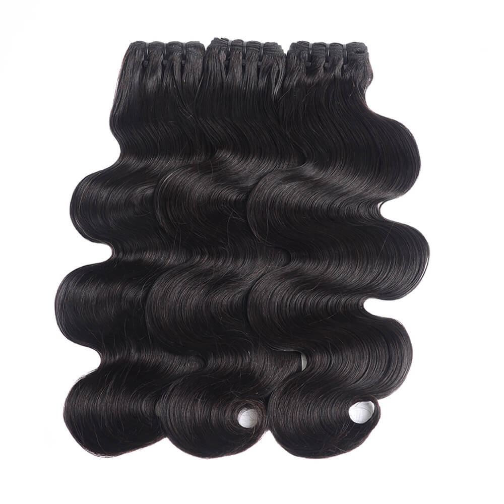 15A Grade Double Drawn Full End Body Wave Unprocessed Hair Natural Black 3 bundles/pack - arabellahair.com