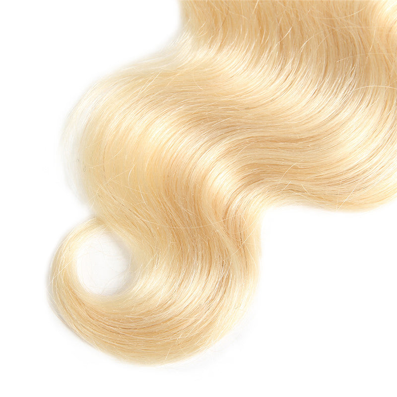 613 Blonde Hair, 3 Bundles Body Wave Hair Weaves  With 4*4 Lace Closure