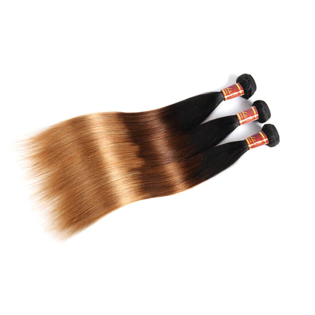 Brazilian Virgin Human Hair Ombre 1b/4/27 Straight 3pcs/pack