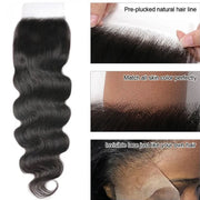 Human Virgin Hair Body Wave Hair Closure Three part Middle Part and Free Part 1 Piece