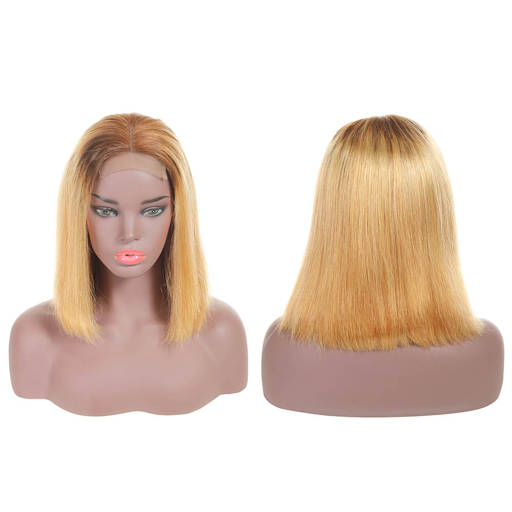 Human Hair Bob Wigs 4*4 Inch Lace Front Wig Ombre 4/27 With Baby Hair