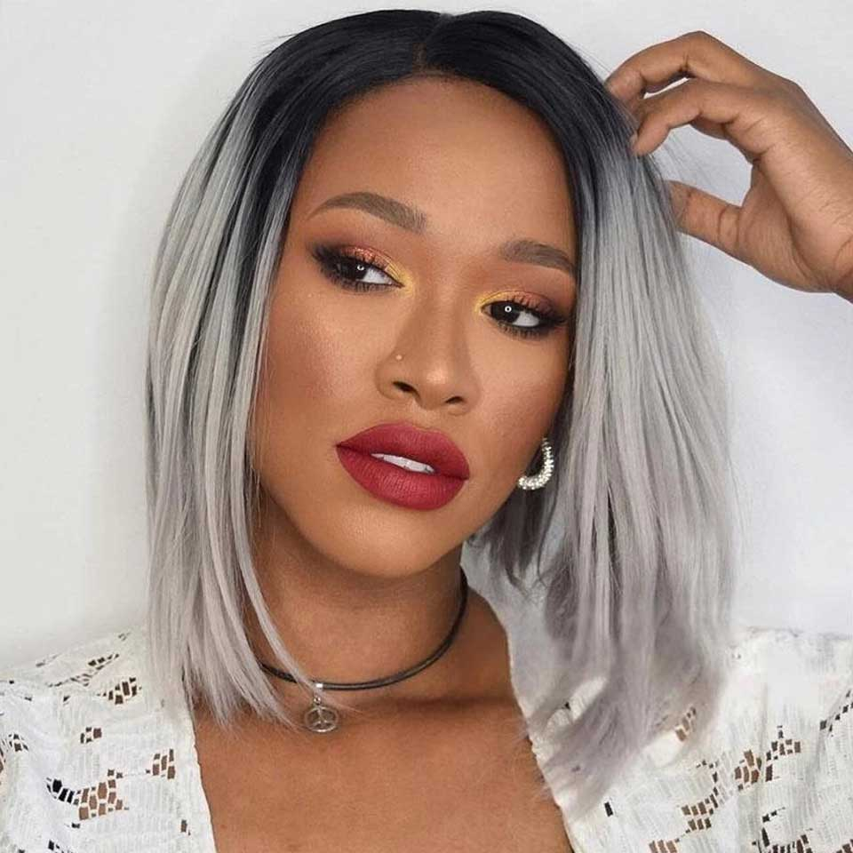 Arabella Hair Bob Wigs 4*4 Inch Lace Front Wig T1B/Grey Ombre Virgin Human Hair 180% Density - arabellahair.com