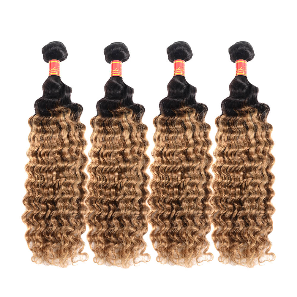 Peruvian Deep Wave T1b/27 Human Hair 4 bundles/lot