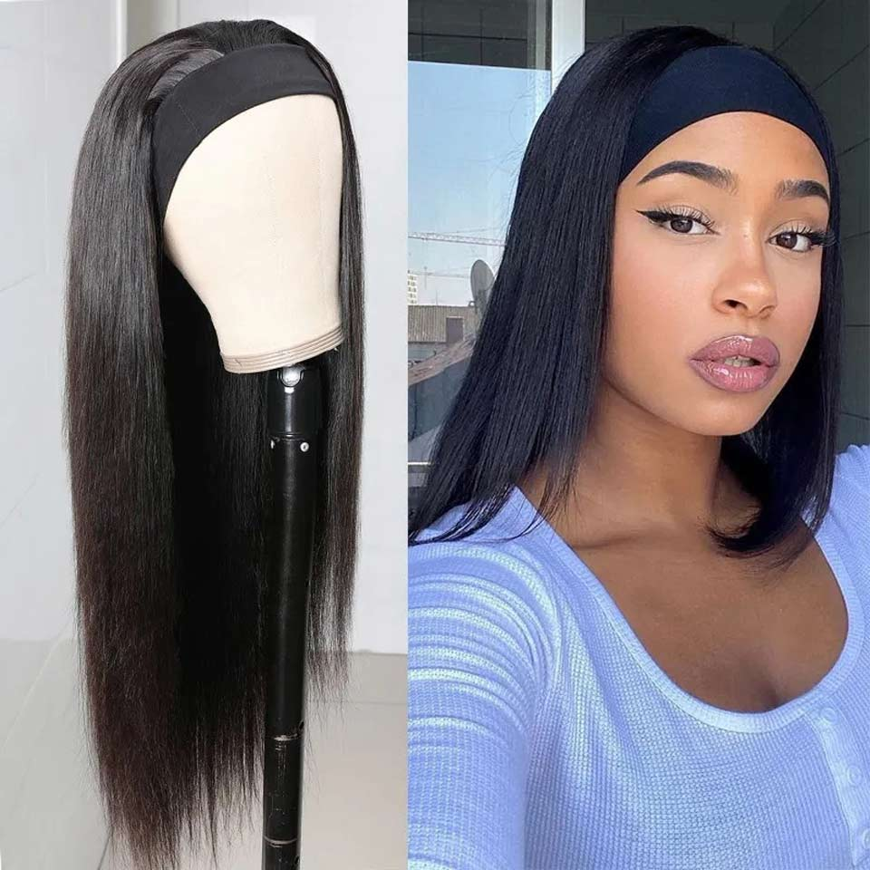Headbang Wig Human Hai Glueless Natural Wig With Head Band Full Machine Made Wig Lazy Girl Approved