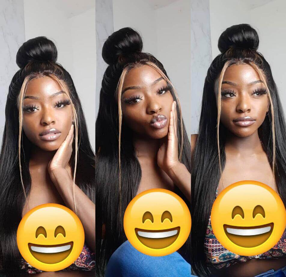 Highlight Human Hair Wigs Long Straight 13x4 Inch Lace Frontal Wig 180% Density With Baby Hair