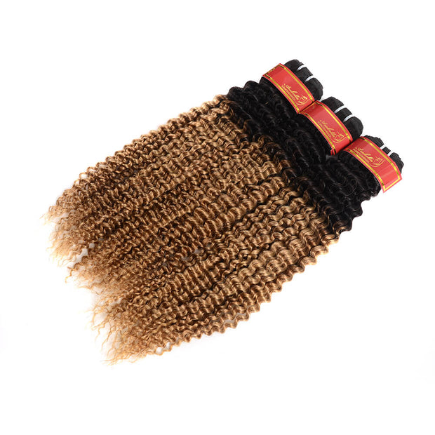 Peruvian Virgin Ombre T1b/27 Kinky Curly 3 Bundles/pack
