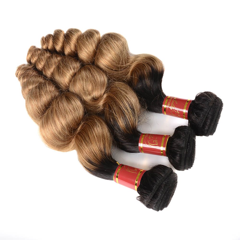 Indian Virgin Ombre T1b/27 Loose Wave 3 Bundles/pack