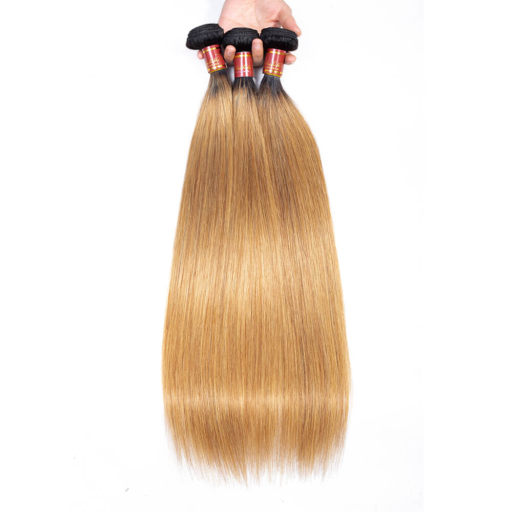 Brazilian Ombre T1b/27 Virgin Straight 3 Bundles/pack