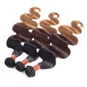 Brazilian Virgin Human Hair Ombre 1b/4/27 Body Wave 3pcs/pack