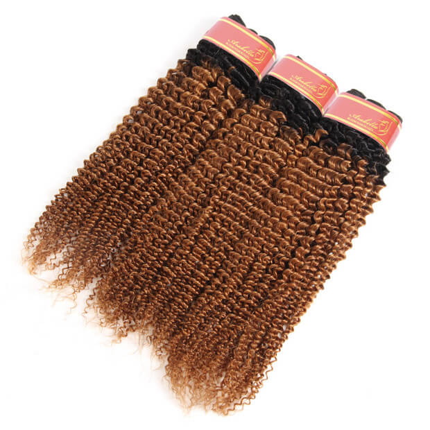 Brazilian Virgin Ombre T1b/30 Kinky Curly 3 Bundles/pack