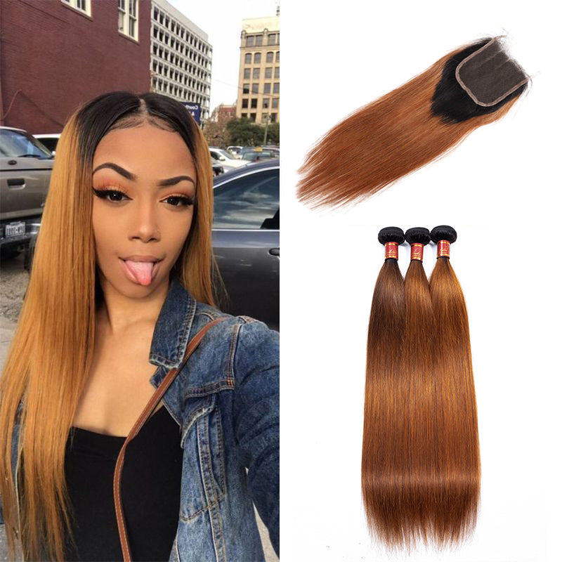T1B/30 3Bundles Straight Hair Weaves With 4*4 Lace Closure