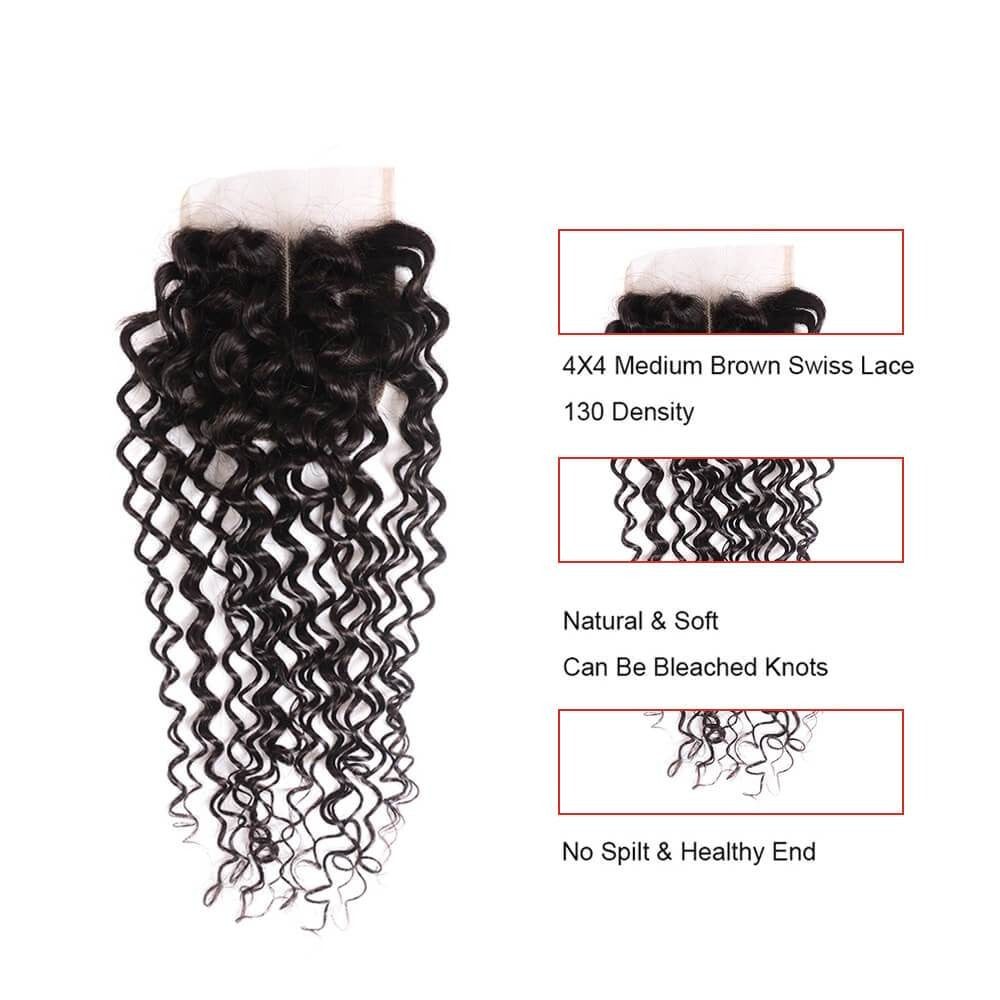 Jerry Curly Closure Free Part Middle Part and Three Part Lace Closure 1 Piece