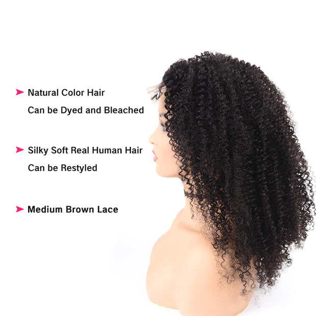 Human Hair Kinky Curly 13x6 Inch Lace Frontal Wig With Baby Hair