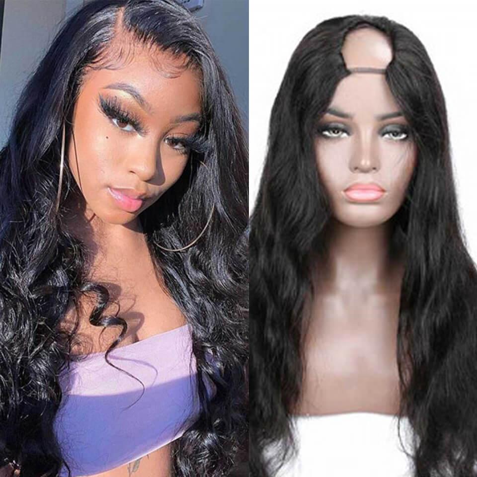 Arabella 2x4 U Part Wig Natural Hair Body Wave Human Hair Upart Wigs For Women 150% Density