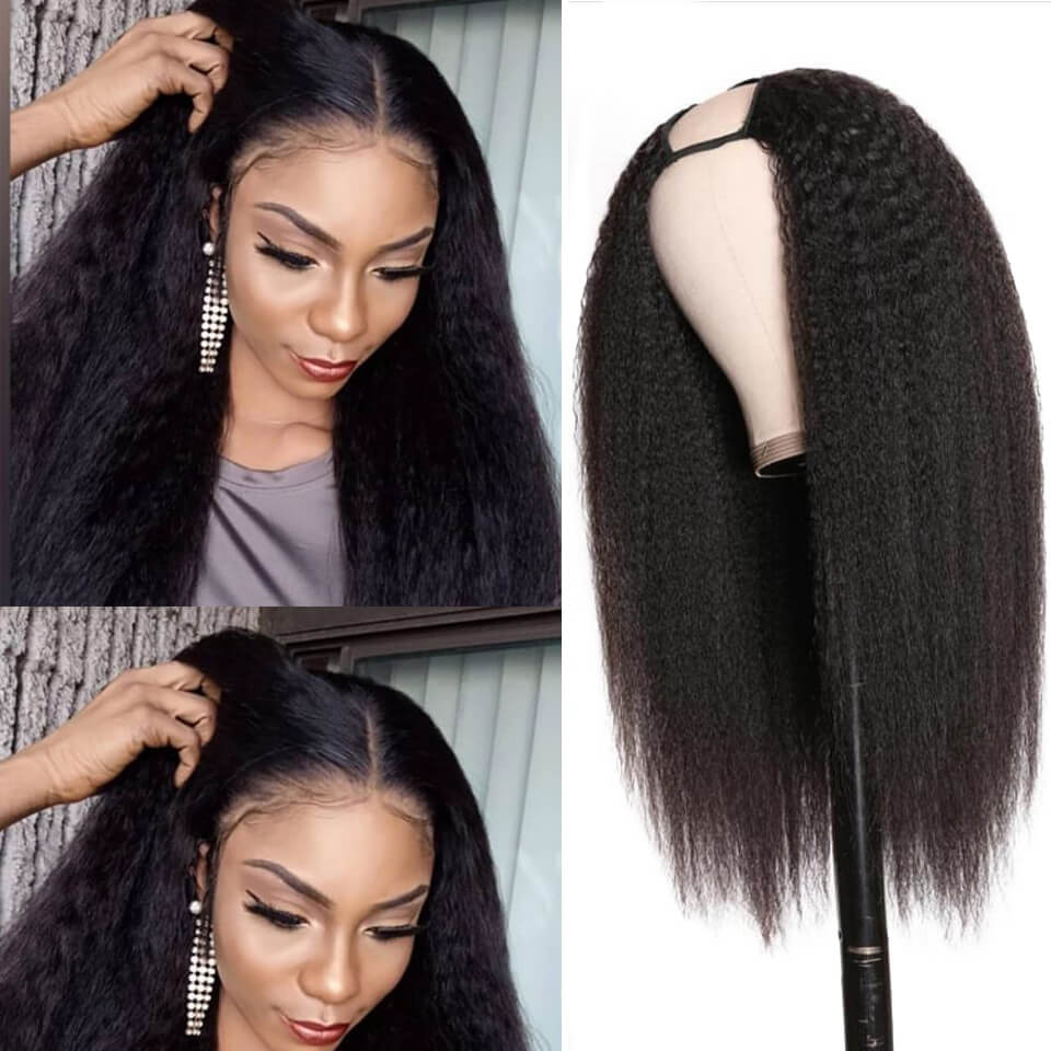 Arabella  Yaki Straight 2x4 U Part Wig Natural Hair Human Hair Upart Wigs For Women 150% Density
