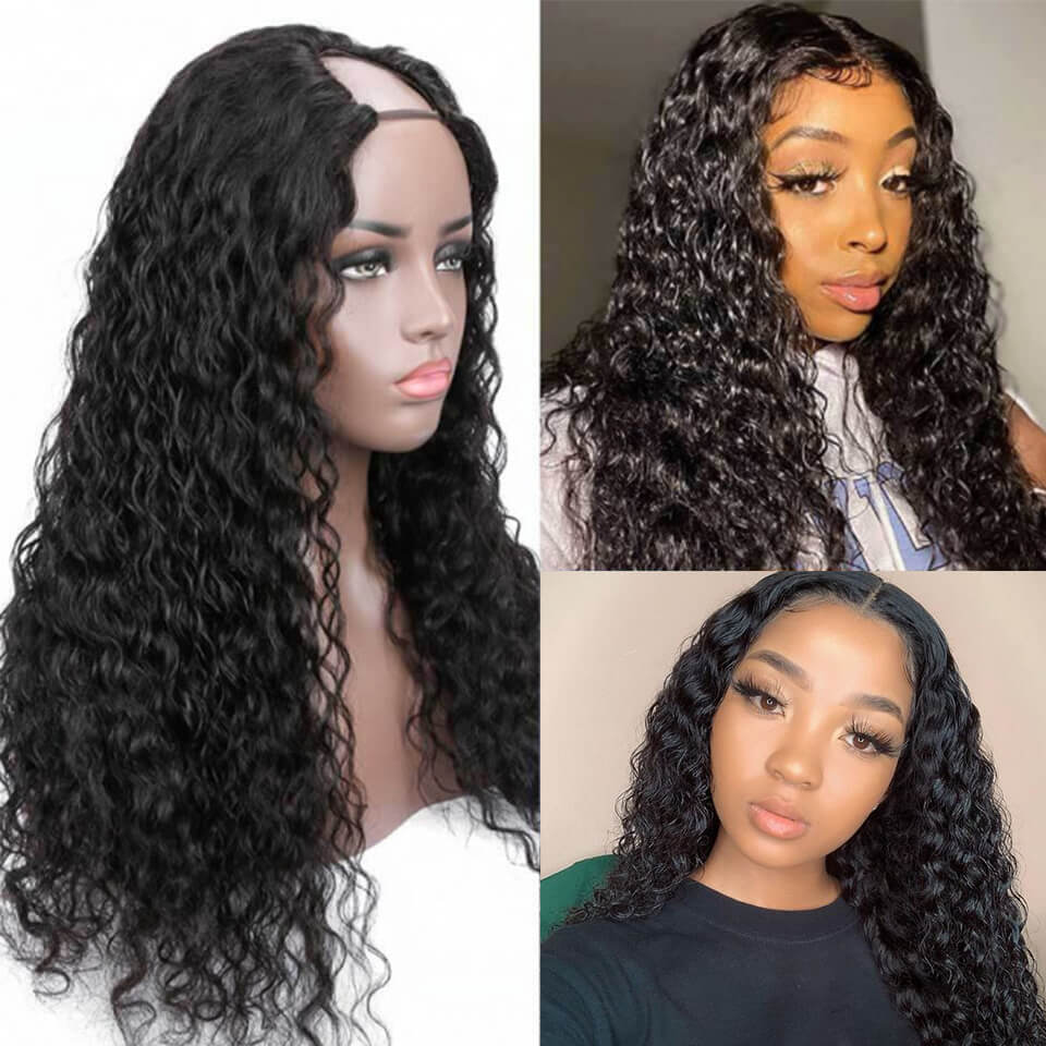 Arabella 2x4 U Part  Water Wave Wig Natural Hair Human Hair Upart Wigs For Women 150% Density