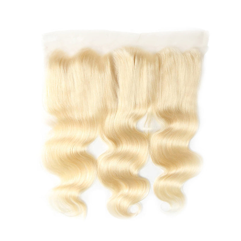 613 Blonde 3 Bundles Body Wave Human Hair Weaves With 13x4 Lace Frontal Closure