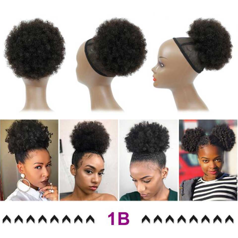 High Puff Afro Curly Wig Ponytail Drawstring Short Afro Kinky Pony Tail Clip in Human Hair