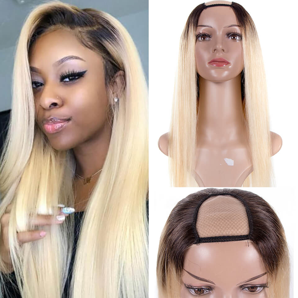 Arabella 1b/613 blonde wig 2x4 U Part Wig Natural Hair Brazilian Human Hair Upart Wigs For Women 150% Density