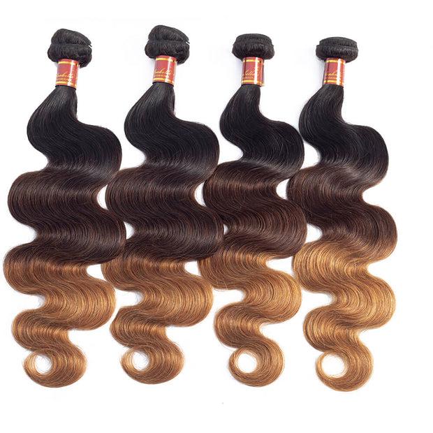 Peruvian Body Wave T1b/4/27 Human Hair 4 bundles/lot
