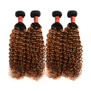 Brazilian Jerry Curly T1b/30 Human Hair 4 bundles/lot
