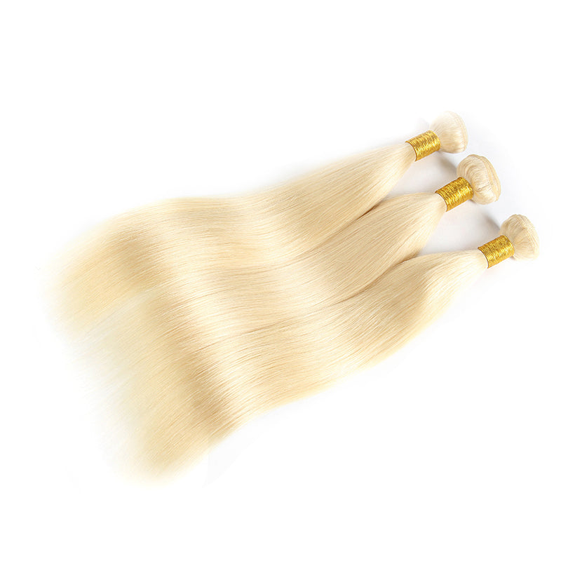 613 Blonde Hair, 3 Bundles Straight Hair Weaves  With 4*4 Lace Closure - arabellahair.com