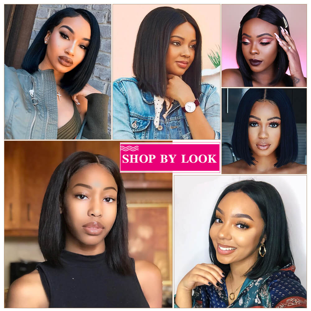 Arabella Human Hair Straight Hair Bob Wigs 4x4 Lace Front With Baby Hair, 15A Grade