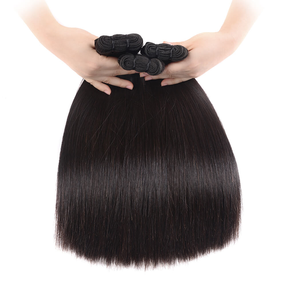 Brazilian 15A Grade Double Drawn Full End Straight Unprocessed Hair Natural Black 3 bundles/pack