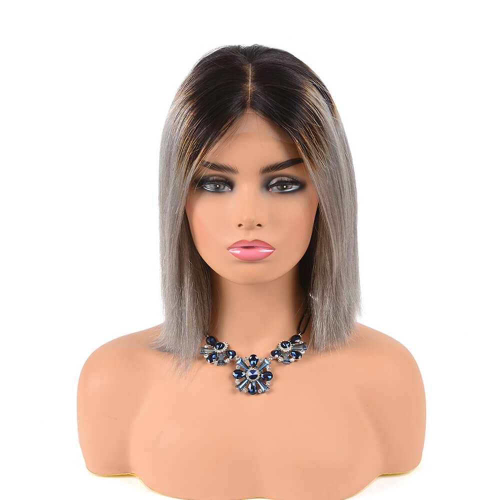 Arabella Hair Bob Wigs 4*4 Inch Lace Front Wig T1B/Grey Ombre Virgin Human Hair