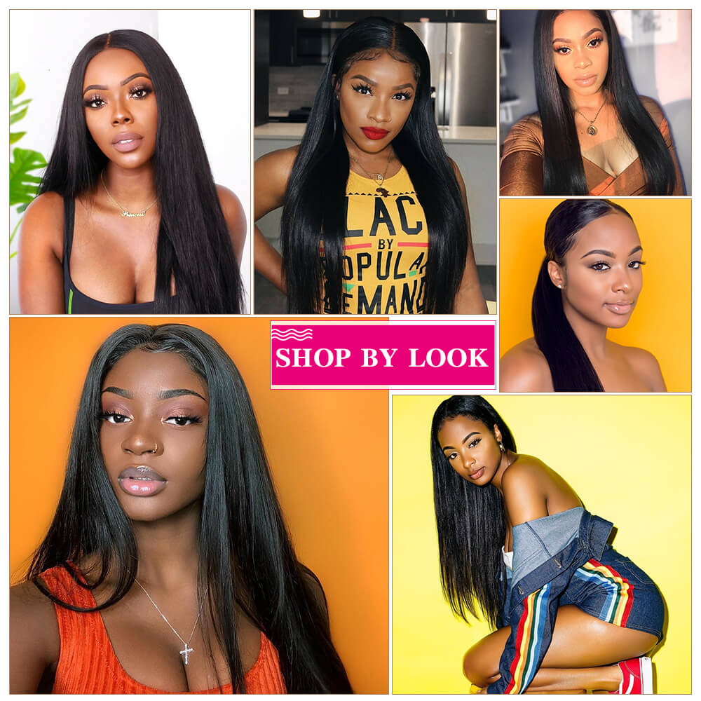 Human Hair Wigs Long Straight 13x4 Inch Lace Frontal Wig 210% Density