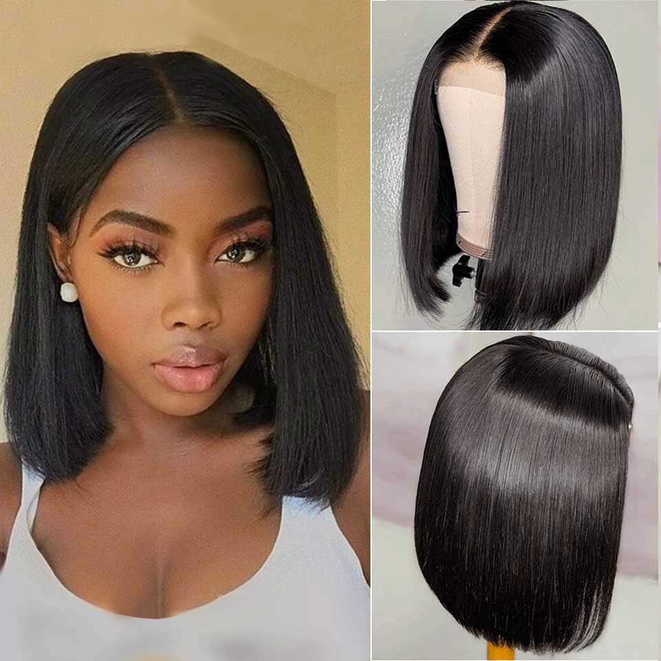 Human Hair Straight Hair Bob Wigs 4x4 Lace Front With Baby Hair, 15A Grade